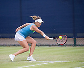 June 13th 2017, Nottingham, England; WTA Aegon Nottingham Open Tennis Tournament day 4;  Backhand from Tatjana Maria of Germany in her match against Ashleigh Barty of Australia