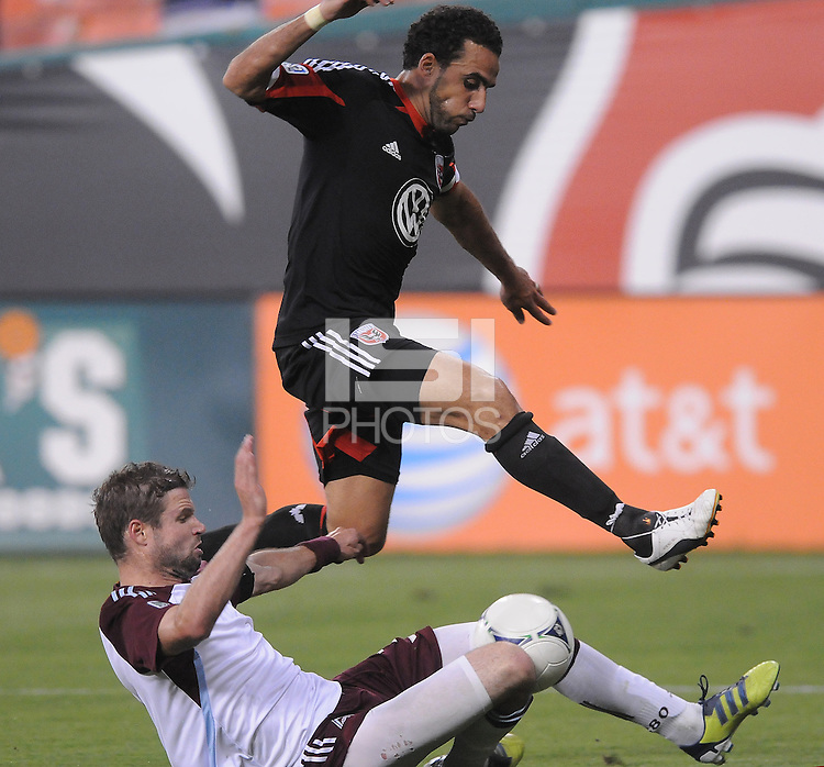 D.C. United forward Dwayne de Rosario (7) goes against Colorado Rapids defender Drew Moor (3) D.C. United defeated the Colorado Rapids 2-0 at RFK Stadium, Wednesday May 16, 2012.