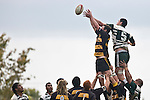 Josh Chamberlain & Jamie Metcalfe both reach skyward for lineout ball. Counties Manukau Premier Club Rugby game between Bombay & Manurewa played at Bombay on Saturday June 14th 2008..Bombay won 19 - 12 after leading 12 - 0 at halftime.