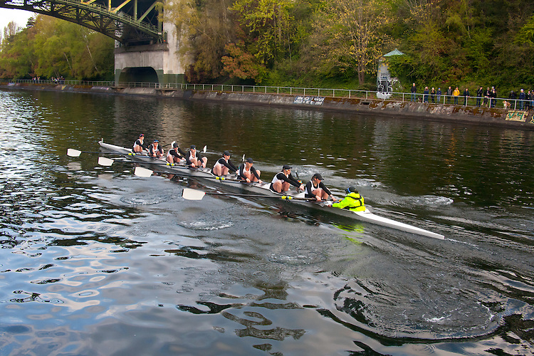 Rowing, Seattle, The Husky Open, April 4 2015, rowing regatta, Montlake Cut, University of Washington, Womens Varsity eight, College W V8, crew, Washington State, Pacific Northwest, USA,