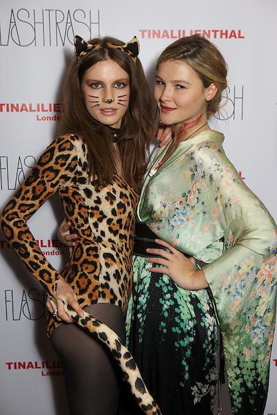 Tali Lennox and Amber Atherton at the Myflashtrash Halloween Party at Barrio, Soho, London
