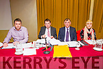 l-r  Denis Griffin, IFA  Development Officer, James McCarthy, IFA  Munster Vice Chairman, Sean Brosnan,  Kerry IFA Chairman and Mary Fleming, IFA Association Secretary at the IFA Scandal Meeting in Manor West Hotel on Monday