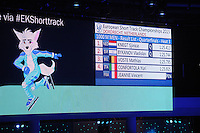 SHORTTRACK: DORDRECHT: Sportboulevard Dordrecht, 25-01-2015, ISU EK Shorttrack, scoreboard, ©foto Martin de Jong