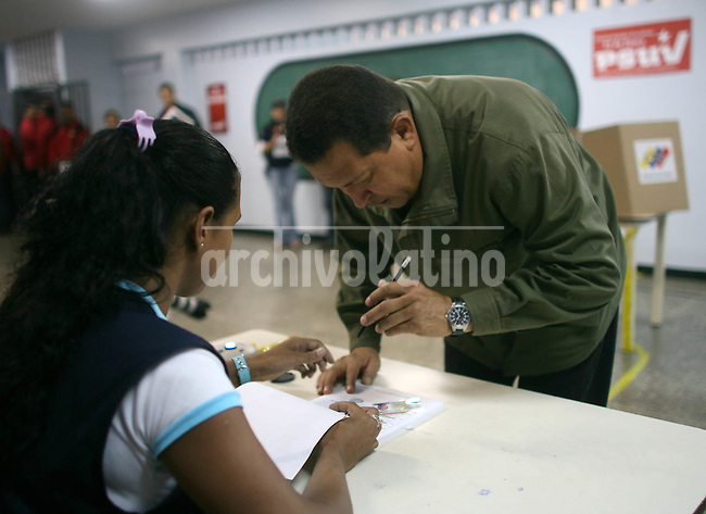 President of Venezuela Hugo Chavez cast his ballot in the primary election of ruling United Socialist Party of Venezuela, PSUV, in Caracas.