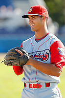 Williamsport Crosscutters third baseman Harold Martinez #6 during the first game of a doubleheader against the Batavia Muckdogs at Dwyer Stadium on August 23, 2011 in Batavia, New York.  Batavia defeated Williamsport 2-1.  (Mike Janes/Four Seam Images)