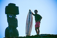 Big wave surfer Ross Clarke Jones (AUS) on a visit to Easter Island, Chile. Circa 1993. Photo: joliphotos.com