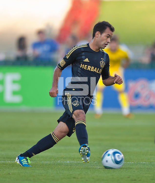 LOS ANGELES, CA – July 16, 2011: Juninho (19) of the LA Galaxy during the match between LA Galaxy and Real Madrid at the Los Angeles Memorial Coliseum in Los Angeles, California. Final score Real Madrid 4, LA Galaxy 1.