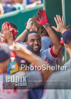 25 August 2013: Washington Nationals outfielder Denard Span returns to the dugout after hitting a solo home run against the Kansas City Royals at Kauffman Stadium in Kansas City, MO. The Royals defeated the Nationals 6-4, to take the final game of their 3-game inter-league series. Mandatory Credit: Ed Wolfstein Photo *** RAW (NEF) Image File Available ***