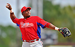 9 March 2012: Philadelphia Phillies infielder Hector Luna warms up prior to a Spring Training game against the Detroit Tigers at Joker Marchant Stadium in Lakeland, Florida. The Phillies defeated the Tigers 7-5 in Grapefruit League action. Mandatory Credit: Ed Wolfstein Photo