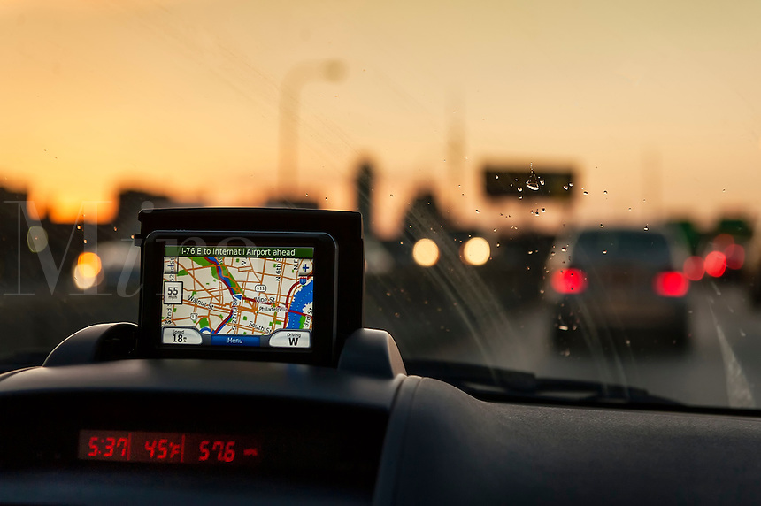 GPS unit on the dashboard of a car.