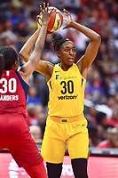 Washington, DC - August 17, 2018: Los Angeles Sparks forward Nneka Ogwumike (30) looks to pass the ball during game between the Washington Mystics and Los Angeles Sparks at the Capital One Arena in Washington, DC. (Photo by Phil Peters/Media Images International)