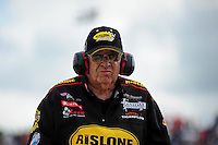 May 20, 2011; Topeka, KS, USA: NHRA funny car owner Jim Dunn during qualifying for the Summer Nationals at Heartland Park Topeka. Mandatory Credit: Mark J. Rebilas-