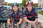 Donnacha Clifford and Sean Williams of the Chain Gang Cycling Club taking part in the Drumm Cycle Race in Currow on Sunday.