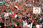 "Supporters of the Muslim Brotherhood attend a protest in support of ousted Egyptian President Mohamed Morsi outside the Rabaa al-Adawiya mosque, in in Cairo, Egypt, Aug 12, 2013. Egyptian authorities on Monday postponed a move to disperse two Cairo sit-ins by supporters of the country's ousted president to ""avoid bloodshed,"" an official said, as Islamist supporters stepped up rallies to demand his return to power. Photo by Ahmed Asad"