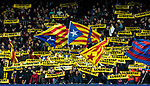 "Supporters of FC Barcelona wave the Catalan pro-independence ""Estelada"" and ""Llibertat"" flags during the Copa Del Rey 2017-18 Round of 16 (2nd leg) match between FC Barcelona and RC Celta de Vigo at Camp Nou on 11 January 2018 in Barcelona, Spain. Photo by Vicens Gimenez / Power Sport Images"