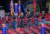 A color guard practices their routine on the floor of the Quicken Loans Arena prior to the start of the convention on Friday, July 15, 2016. Photo Credit: Ron Sachs/CNP/AdMedia
