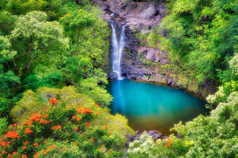 Puohokamoa Falls & pool. Garden of Eden Botanical Gardens. Maui, HI