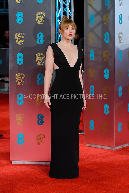 www.acepixs.com<br /> <br /> February 12 2017, London<br /> <br /> Bryce Dallas Howard arriving at the 70th EE British Academy Film Awards (BAFTA) at the Royal Albert Hall on February 12, 2017 in London, England<br /> <br /> By Line: Famous/ACE Pictures<br /> <br /> <br /> ACE Pictures Inc<br /> Tel: 6467670430<br /> Email: info@acepixs.com<br /> www.acepixs.com