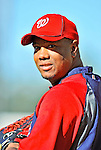 22 July 2011: Washington Nationals pitcher Livan Hernandez smiles prior to a game against the Los Angeles Dodgers at Dodger Stadium in Los Angeles, California. The Nationals defeated the Dodgers 7-2 in their first meeting of the 2011 season. Mandatory Credit: Ed Wolfstein Photo