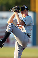 Connecticut Tigers starting pitcher Pat Lawson (27) during a double header vs. the Batavia Muckdogs at Dwyer Stadium in Batavia, New York July 10, 2010.  Connecticut dropped the first game 3-5 then defeated Batavia 8-1 in the night cap.  Photo By Mike Janes/Four Seam Images