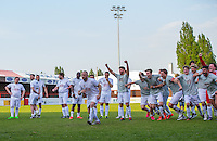 Celebrations on the right as the penalty miss gives them victory during the 'Greatest Show on Turf' Celebrity Event - Once in a Blue Moon Events at the London Borough of Barking and Dagenham Stadium, London, England on 8 May 2016. Photo by Andy Rowland.