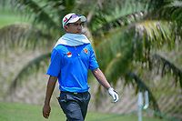 Naraajie Emerald RAMADHAN (INA) tries to stay cool as he heads down 2 during Rd 2 of the Asia-Pacific Amateur Championship, Sentosa Golf Club, Singapore. 10/5/2018.<br /> Picture: Golffile | Ken Murray<br /> <br /> <br /> All photo usage must carry mandatory copyright credit (© Golffile | Ken Murray)