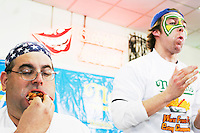 "Ed ""Cookie"" Jarvis, left, and Tim ""Eater X"" Janus at the I.F.O.C.E. sanctioned World French Fry Eating Championship, in New York City on March 31, 2005."