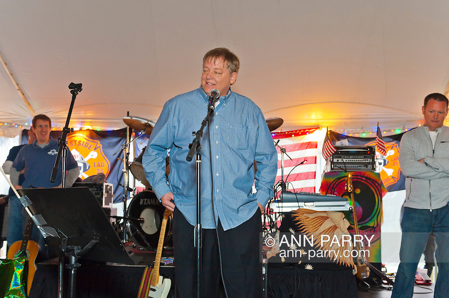 Fund raiser for firefighter Ray Pfeifer on Saturday, March 31, 2012, at East Meadow Firefighters Benevolent Hall, New York, USA. Ray Pfeifer (center) spoke on stage.