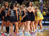 16.08.2015 Silver Ferns Casey Kopua and Bailey Mes after the Silver Ferns v Australia Gold Medal netball match at the 2015 Netball World Cup at All Phones Arena in Sydney Australia. Mandatory Photo Credit ©Michael Bradley.