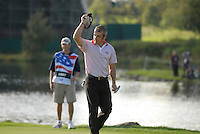 September 24th, 2006. European  Ryder Cup team player Paul McGinley acknowledges the crowd on the 17th green during the singles final session of the last day of the 2006 Ryder Cup at the K Club in Straffan,. County Kildare in the Republic of Ireland...Photo: Eoin Clarke/ Newsfile..
