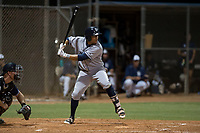 AZL Padres 1 center fielder Jawuan Harris (13) at bat during an Arizona League game against the AZL Padres 2 at Peoria Sports Complex on July 14, 2018 in Peoria, Arizona. The AZL Padres 1 defeated the AZL Padres 2 4-0. (Zachary Lucy/Four Seam Images)