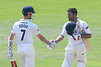 Ravi Bopara of Essex celebrates scoring a century, 100 runs and is congratulated by James Foster during Essex CCC vs Warwickshire CCC, Specsavers County Championship Division 1 Cricket at The Cloudfm County Ground on 20th June 2017