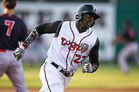 Lansing Lugnuts outfielder Anthony Alford (22) rounds third during a game against the Peoria Chiefs on June 6, 2015 at Cooley Law School Stadium in Lansing, Michigan.  Lansing defeated Peoria 6-2.  (Mike Janes/Four Seam Images)