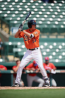 Baltimore Orioles Andrew Jayne (53) at bat during a Florida Instructional League game against the Philadelphia Phillies on October 4, 2018 at Ed Smith Stadium in Sarasota, Florida.  (Mike Janes/Four Seam Images)