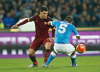 AS Roma's Iago Falque  during the  italian serie a soccer match,between SSC Napoli and AS Roma       at  the San  Paolo   stadium in Naples  Italy ,December 13, 2015