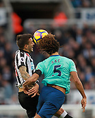 4th November 2017, St James Park, Newcastle upon Tyne, England; EPL Premier League football, Newcastle United Bournemouth; Joselu of Newcastle United and Nathan Aké of AFC Bournemouth compete for a header in the first half