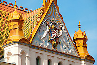 Zsolnay ornamentation on the Post ( Posta ) Building, Pecs ( Pécs ) - European Cultural City of The Year 2010 , Hungary