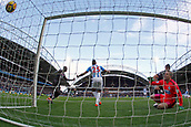 17th March 2018, The John Smiths Stadium, Huddersfield, England; EPL Premier League football, Huddersfield Town versus Crystal Palace; James Tomkins scores past Jonas Lossl of Huddersfield Town in the 23rd minute to make it 0-1 with Mathias Zanka Jorgensen of Huddersfield Town and Mamadou Sakho of Crystal Palace close by