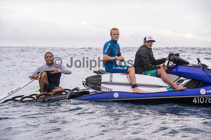 NAMOTU, Fiji (Tuesday, June 6, 2017) Adriano de Souza (BRA), Stu Kennedy (AUS) and  Glyndon Ringrose (AUS) - The Outerknown Fiji Pro, Stop No. 5 on the 2017 World Surf League (WSL) Championship Tour (CT), has been called OFF for the day due to the inconsistent and dropping swell on offer. Event officials are closely monitoring a long period swell that is forecast to arrive at the end of the week. <br /> <br /> The swell had dropped further  overnight and the cross shore winds were roughing up the ocean surface. Surf was in the three-to-five foot range at Cloudbreak with the odd six foot set with  really big lulls between sets so the event was called off for the day. <br /> <br /> Photo: joliphotos.com