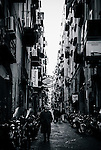 Back street of the historical centre in Naples, Italy