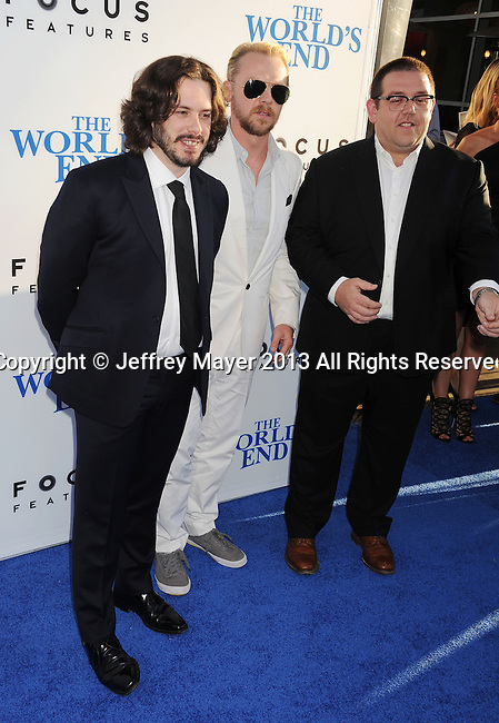 HOLLYWOOD, CA- AUGUST 21: (L-R) Writer/director Edgar Wright, actors Simon Pegg and Nick Frost arrive at the Los Angeles premiere of 'The World's End' at ArcLight Cinemas Cinerama Dome on August 21, 2013 in Hollywood, California.
