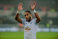 Sunday  14th   December 2014 <br /> Pictured: Ashley Williams of Swansea City waves at the crowd as he leaves the pitch <br /> Re: Barclays Premier League Swansea City v Tottenham Hotspur  at the Liberty Stadium, Swansea, Wales,UK