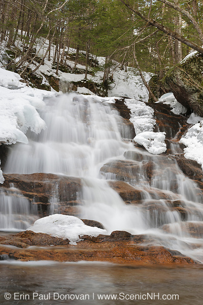 Ellen's Falls which are located along Hobbs Brook in the White Mountains, New Hampshire USA off of the Kancamagus Highway (route 112) which is one of New England's scenic byways