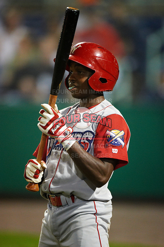 Williamsport Crosscutters shortstop Roman Quinn #4 during the NY-Penn League All-Star Game at Eastwood Field on August 14, 2012 in Niles, Ohio.  National League defeated the American League 8-1.  (Mike Janes/Four Seam Images)