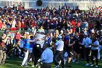 Celebrations on the 18th green during the Sunday singles matches of the 39th Ryder Cup at Medinah Country Club, Chicago, Illinois .(Photo Colum Watts/www.golffile.ie)