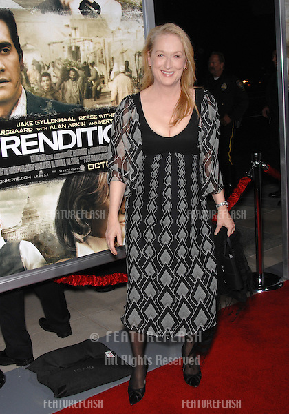 "Meryl Streep at the Los Angeles premiere of her new movie ""Rendition"" at the Academy of Motion Picture Arts & Sciences Theatre, Beverly Hills..October 11, 2007  Los Angeles, CA.Picture: Paul Smith / Featureflash"
