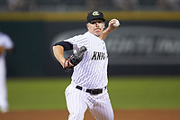 Charlotte Knights relief pitcher Colton Turner (14) in action against the Durham Bulls at BB&T BallPark on July 31, 2019 in Charlotte, North Carolina. The Knights defeated the Bulls 9-6. (Brian Westerholt/Four Seam Images)