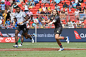 2nd February 2019, Spotless Stadium, Sydney, Australia; HSBC Sydney Rugby Sevens; England versus Fiji; Dan Bibby of England passes the ball