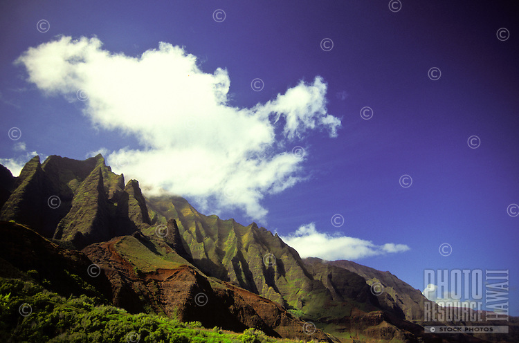 The inaccessible jagged cliffs of the famed Na Pali coast on the island of Kauai.