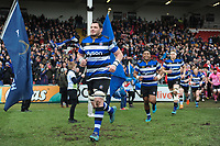 James Phillips and the rest of the Bath Rugby team run onto the field. Anglo-Welsh Cup Final, between Bath Rugby and Exeter Chiefs on March 30, 2018 at Kingsholm Stadium in Gloucester, England. Photo by: Patrick Khachfe / Onside Images
